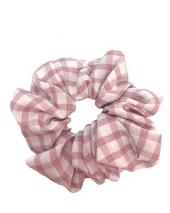 JA•NI Hair Accessories - Hair Scrunchies, The Pink Wide Checkered
