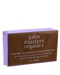 John Masters Organic Lavender Rose Geranium & Ylang Soap, 128 g.